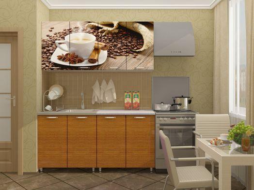 Кухня МДФ с фотопечатью Кофе 1,6 м