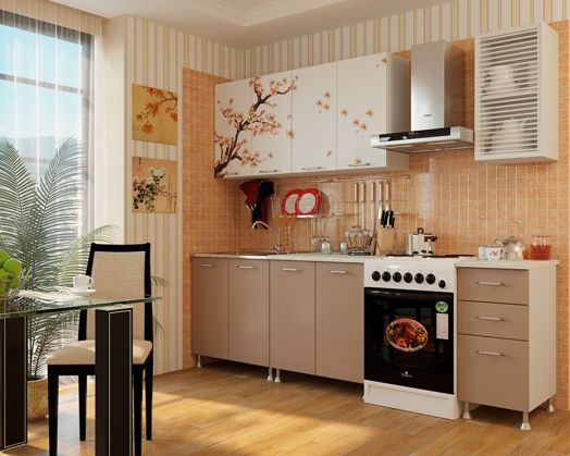 Кухня ЛДСП с фотопечатью Сакура 2,0 м