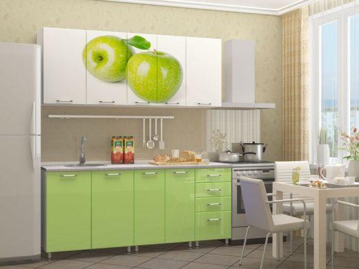 Кухня МДФ с фотопечатью Яблоко 2 м