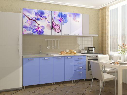 Кухня МДФ с фотопечатью Бабочки 2 м