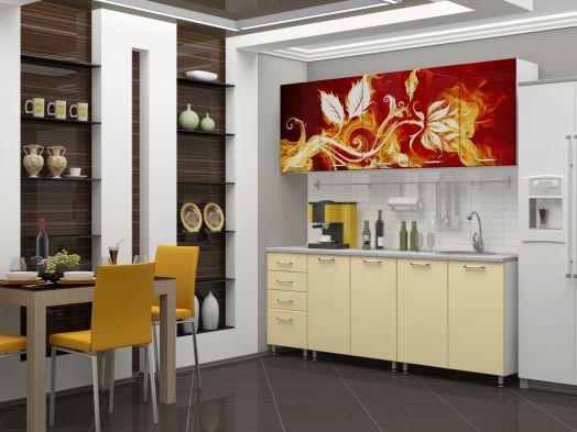 Кухня МДФ с фотопечатью Огненный цветок 2 м