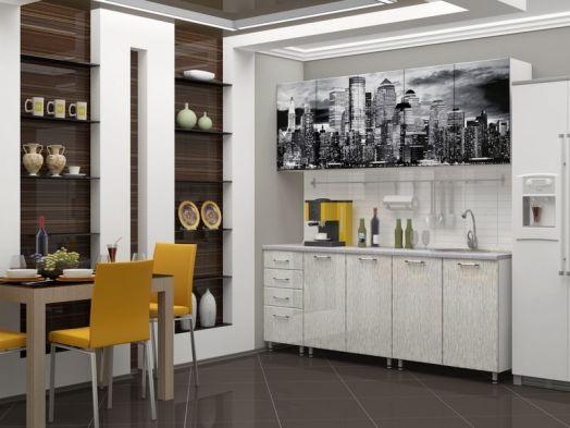 Кухня МДФ с фотопечатью Сити 2 м