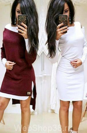 Крутое платье 2 в 1 с туникой цвет марсала