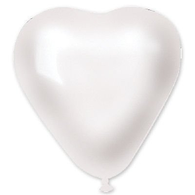 "Сердечко 5"" Металлик Белое, 100 шт."