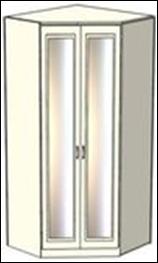Шкаф-трапеция Ждана зеркальный двухдверный,  модуль 51 (L 86-96 см)