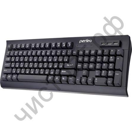 "Клавиатура провод.Perfeo ""HUB-BIT"" Multimedia,хаб на 3 USB порта, чёрная (PF-855-HUB)"