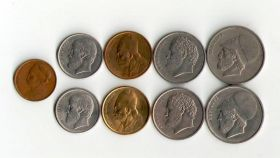 ГРЕЦИЯ - 9 монет 1976-1992 (VF-XF)