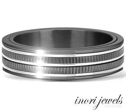 Чёрное стальное кольцо Inori современного дизайна