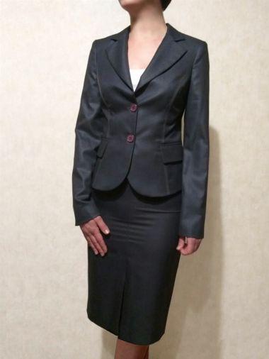 Юбка темно-синего цвета из костюмной ткани