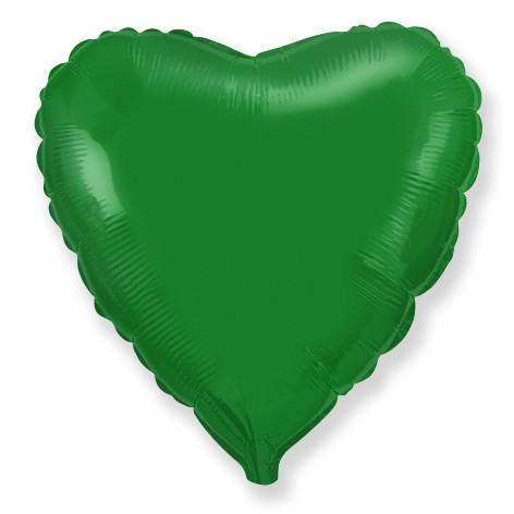 Сердце зеленое большое шар фольгированный с гелием