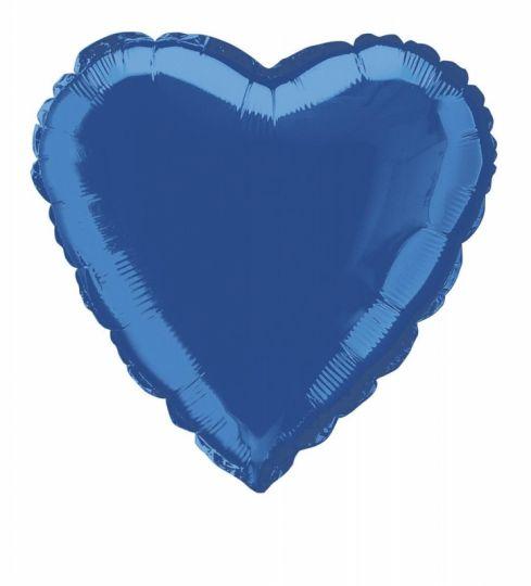 Сердце синее большое шар фольгированный с гелием