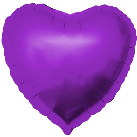 Сердце фиолетовое большое шар фольгированный с гелием