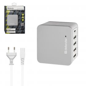 Сетевой адаптер Defender UPA-50 4 порта USB + Type C, 5V / 8A