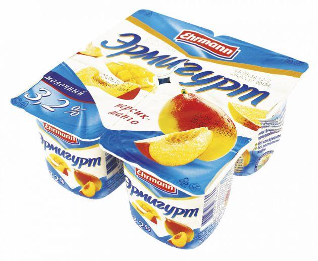 Продукт йогуртный Эрмигурт 3,2% персик манго  115гр. Эрманн
