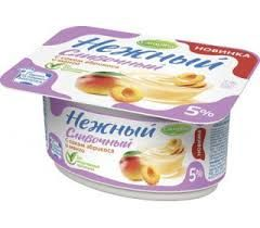 Продукт йогуртный Кампина Нежный 5% с соком абрикос-манго 110гр. (ванночка)