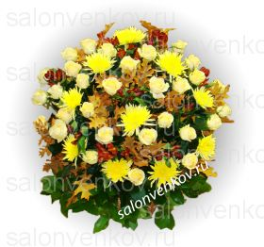 Траурная корзина из живых цветов N84 высота 80см