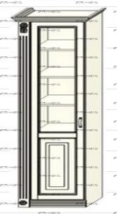Шкаф-пенал (колонка) Ферсия, мод. 14 для белья (Б) (два варианта полок) МДФ