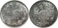 НИКОЛАЙ 2- Русская Финляндия СЕРЕБРО 50 пенни 1914 года L (127). СОСТОЯНИЕ
