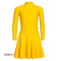 Платье для танцев, длинный рукав, желтое