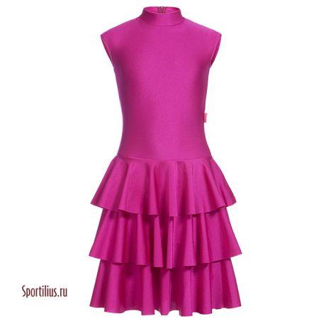 Малиновое платье для танцев с необычной юбкой