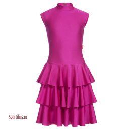 Платье из бифлекса для спортивных танцев малиновое
