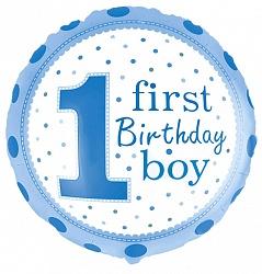 Цифра один на первый годик мальчику шар фольгированный с гелием