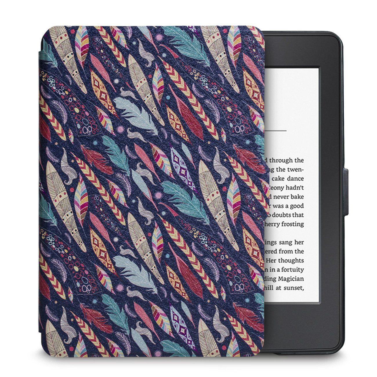 Чехол-обложка  для Amazon Kindle Paperwhite (Цветные Перья)