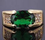 Позолоченное кольцо с искусственным изумрудом (арт. 900591)