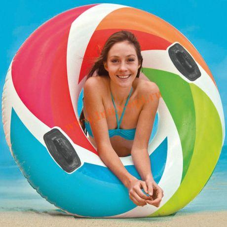 Надувной круг Color Whirl Tube с ручками Intex 58202