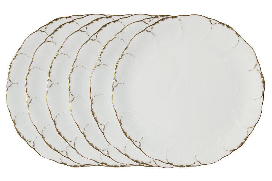 """Набор из 6 обеденных тарелок """"Белый с золотом"""", 27 см"""