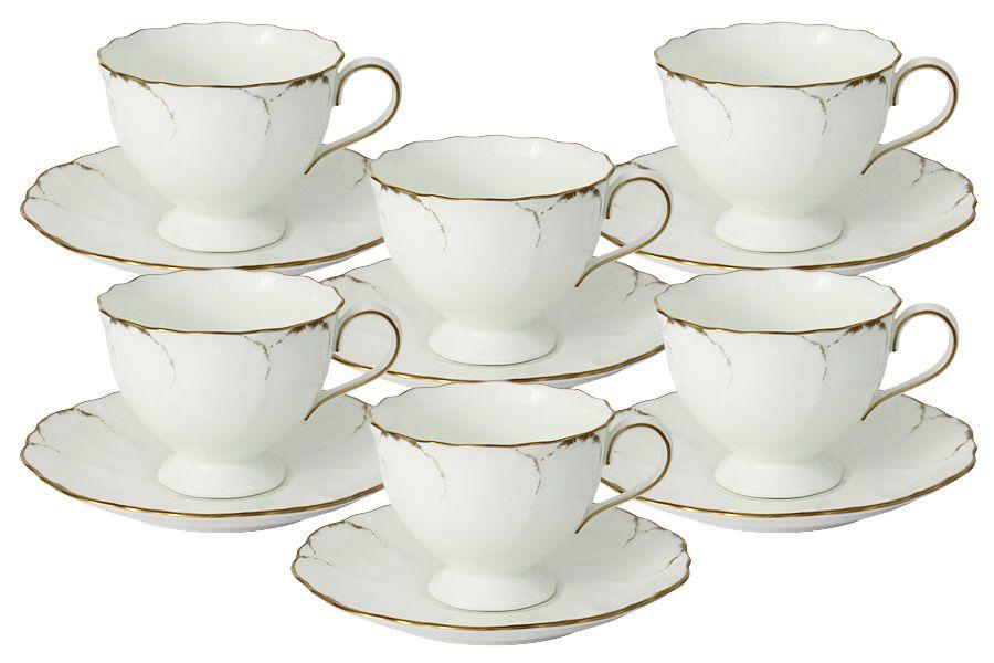 """Чайный набор на 6 персон """"Белый с золотом"""", 12 пр., 0.2 л"""
