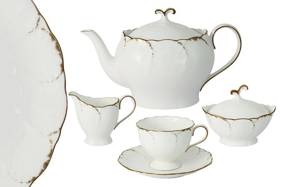 """Чайный сервиз на 6 персон """"Белый с золотом"""", 17 пр."""