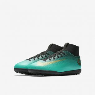 Детские сороконожки NIKE MERCURIALX SUPERFLY VI CLUB CR7 TF AJ3088-390 JR