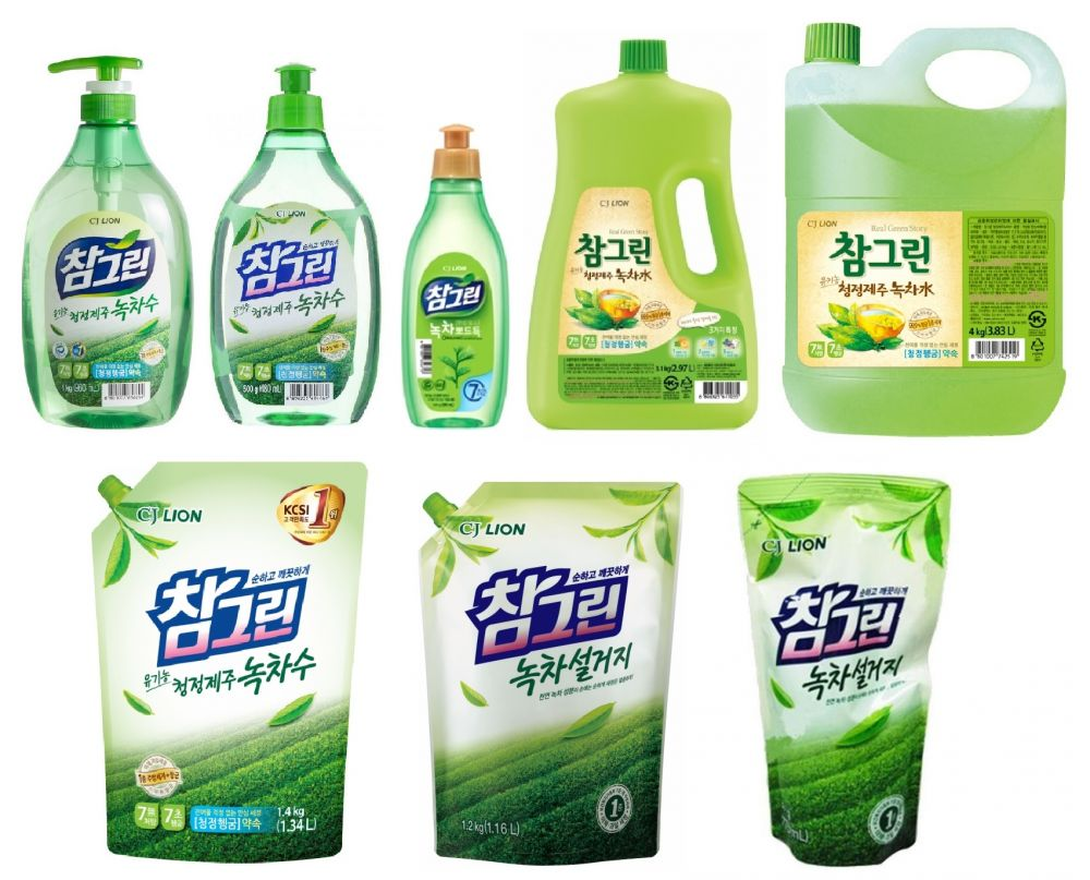 CJ Lion Средство для мытья посуды, овощей и фруктов Chamgreen Зеленый чай