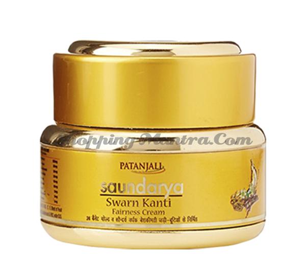Осветляющий крем с золотом Патанджали Аюрведа   Divya Patanjali Swarn Kanti Fairness Cream