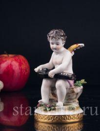 Ангелочек с колесной лирой, Volkstedt, Германия, 1804-1815 гг., артикул 03313