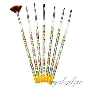 Набор кистей для дизайна 7 шт. ручка с цветочным принтом