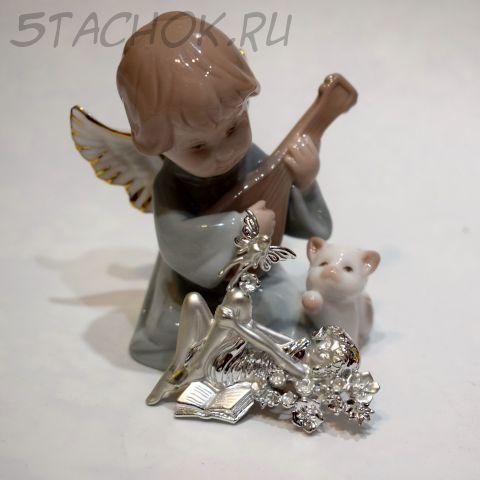 """Брошь """"Девушка и фея"""" цвет серебра (AJC США)"""