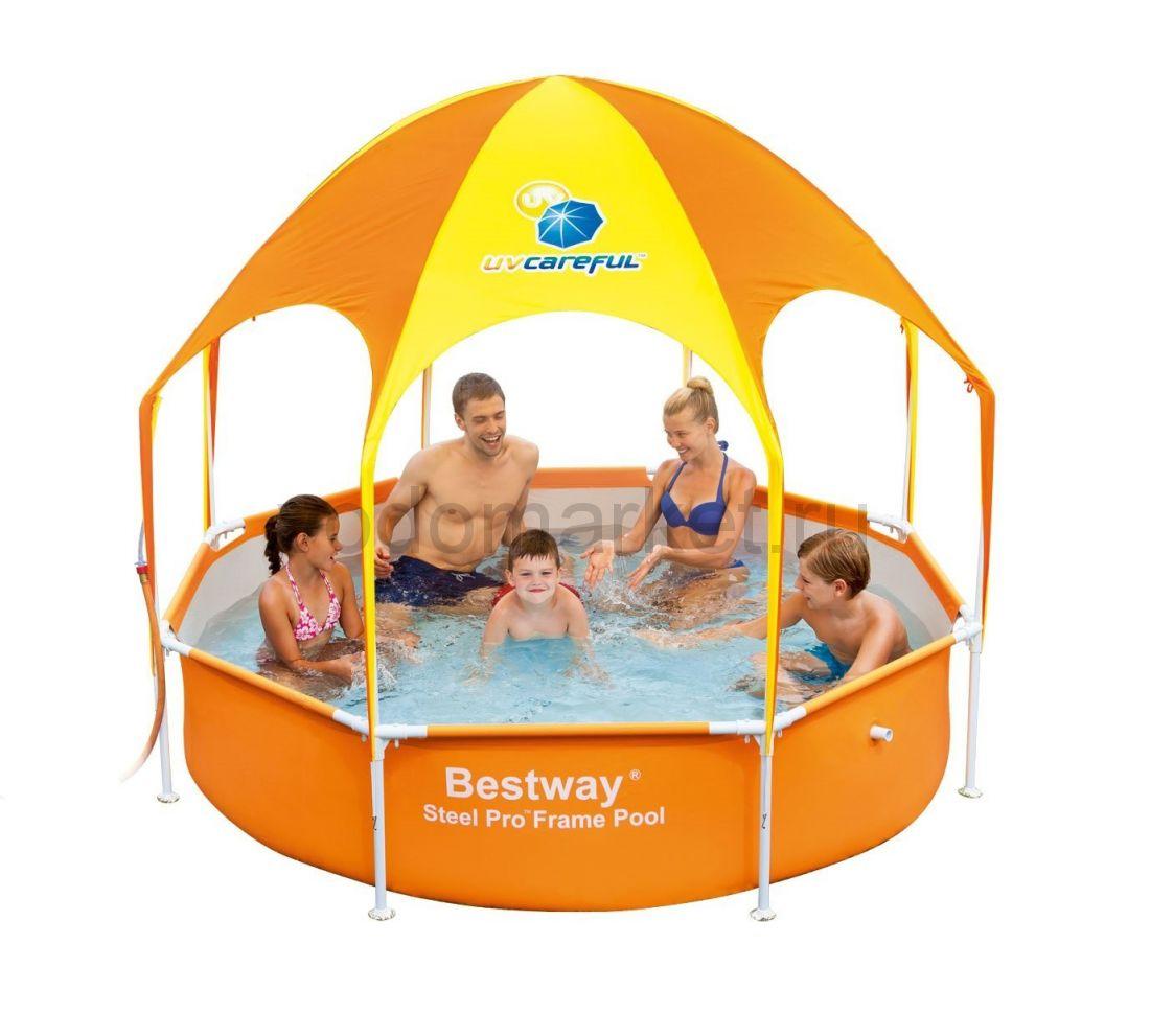 244х51 см (56432) Bestway Каркасный круглый бассейн с навесом