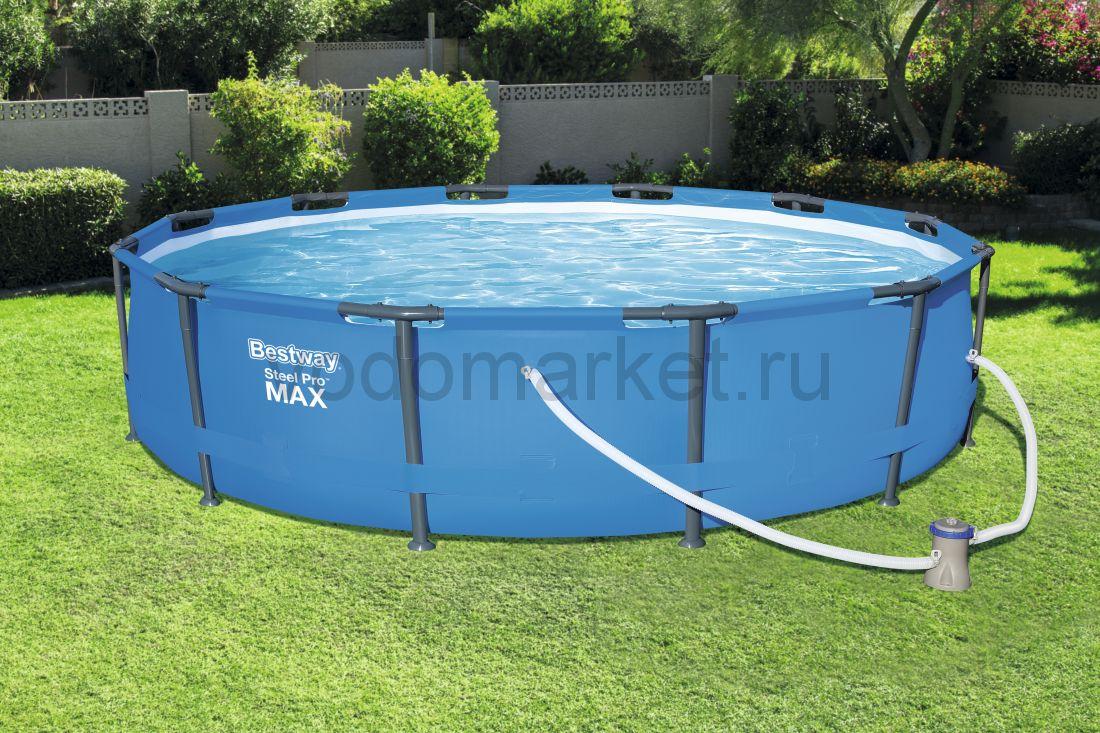 366х76 см (56416) Bestway Каркасный круглый бассейн с навесом