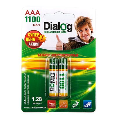 Аккумулятор Dialog NiMH AAA 1100 мА*ч, 2шт. в блистере HR03/1100-2B