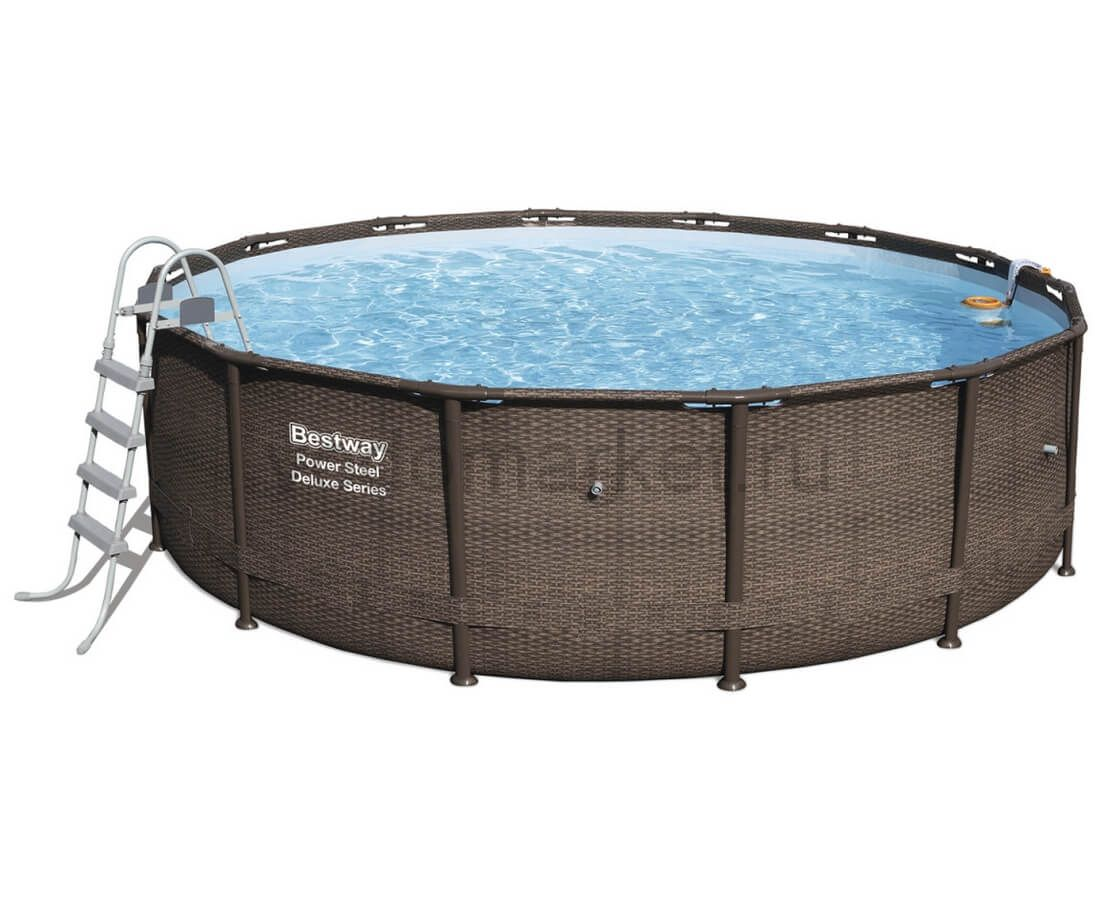 488х122 см (56666) Bestway каркасный бассейн ротанг DELUXE