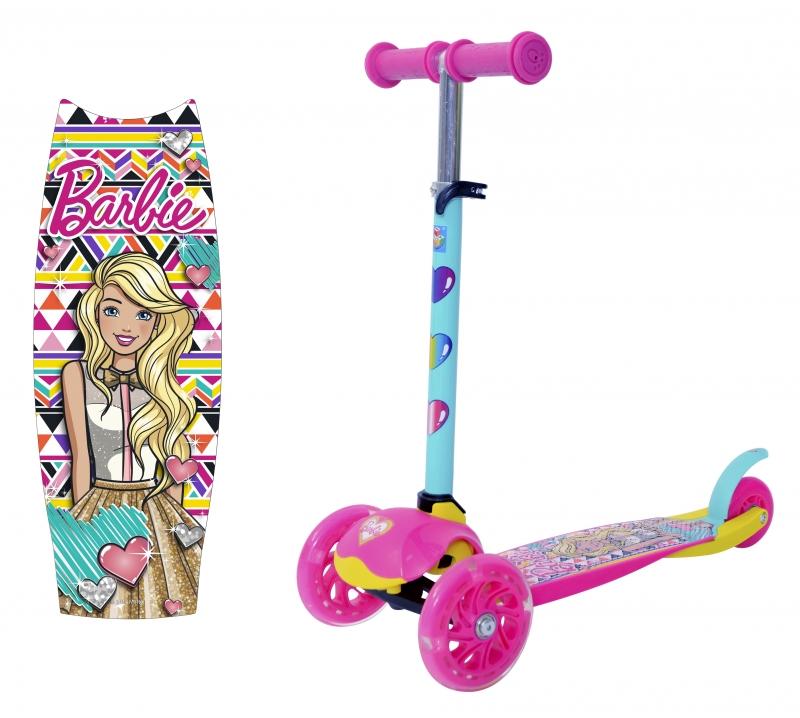 Самокат  трёхколесный 1 TOY Barbie, колеса со светом