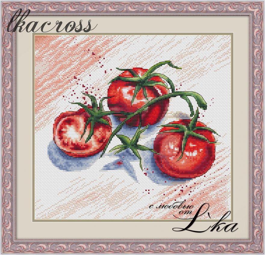 """Tomatoes"". Digital cross stitch pattern."
