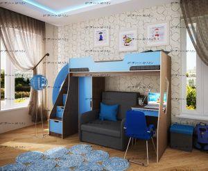 Кровать-чердак с диваном и с рабочей зоной Фанки Кидз 23 (арт.23/1 + 23/2 + 23/5 + бланес-3)