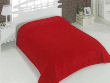 "Простыня махровая ""KARNA"" REBEKA 160x220 см (красная) Арт.2654-2"