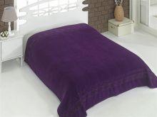 """Простыня махровая """"KARNA"""" REBEKA 160x220 см (фиолетовая) Арт.2654-17"""
