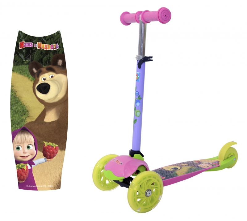 """Детский трёхколёсный самокат 1TOY """"Маша и Медведь""""."""