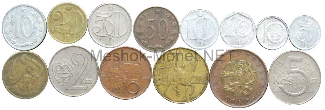 Набор монет Чехословакии и Чехии (14 монет)
