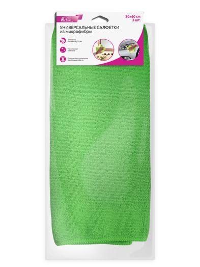Универсальные салфетки из микрофибры Partner, зеленые, 3 шт